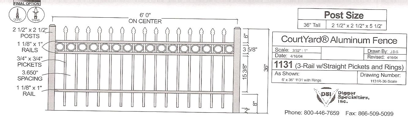 Residential Fencing OMA 1131R - OMARAIL : Aluminum Railing