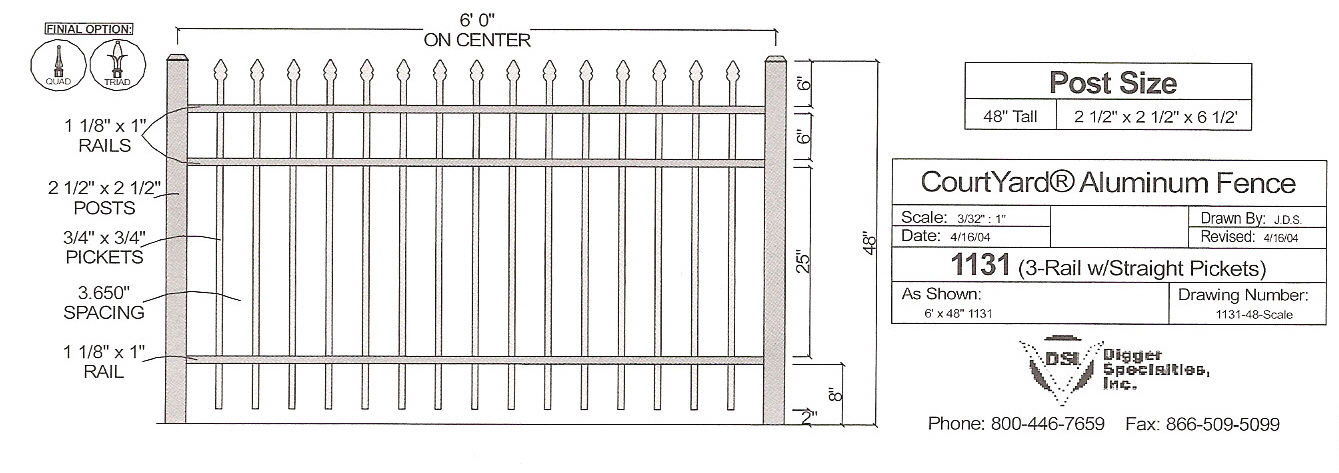Residential Fencing OMA 1131 - OMARAIL : Aluminum Railing and