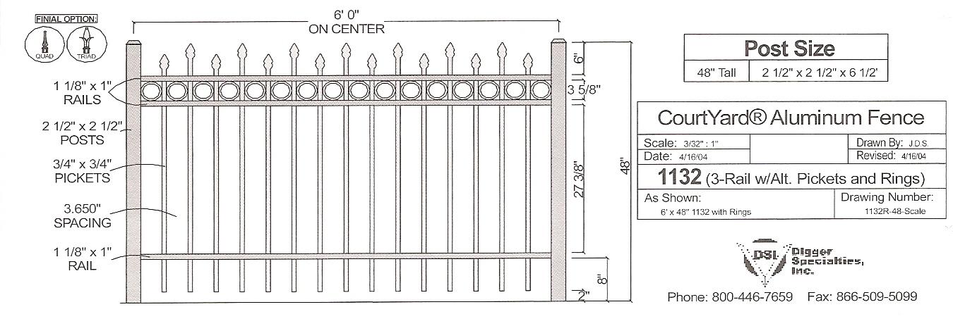 Residential Fencing OMA 1132R - OMARAIL : Aluminum Railing