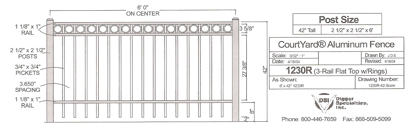 Residential Fencing OMA 1230R - OMARAIL : Aluminum Railing and